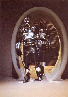 Cylon Centurions aboard a baseship from Battlestar Galactica (1978).