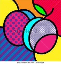 plums pop-art fruits vector illustration for design