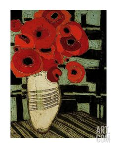 Poppies on Table with Chairs Print by Karen Tusinski at Art.co.uk