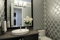 Metallic Wallpaper Luxury living in Richmond BC - contemporary - powder room - vancouver - KASHMIR DHALIWAL FINE REDESIGN.
