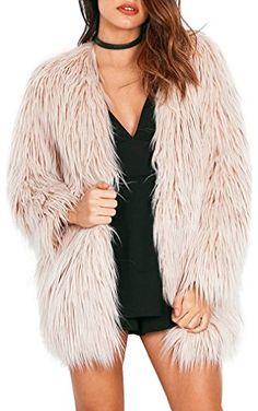 Simplee Apparel Women's Long Sleeve Fluffy Faux Fur Warm Coat, 0/2,  Beige ❤ ...