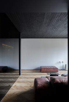 Small Masculine Apartment in Dark Color Schemes - InteriorZine Condo Interior Design, My Home Design, Apartment Interior, Apartment Design, Living Room Interior, Home Living Room, Interior Styling, House Design, Small Living Rooms