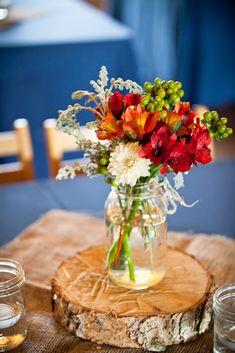 Southern Rustic Wedding, mason jar centerpiece.  #masonjars #wedding centerpiece