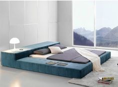 modern blue bed with unique design