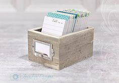 Beachy Blues and Greens Daily Journal Wooden Box -  Warm Weathered Gray Rustic Beach Wood - Minimalist Perpetual Calendar