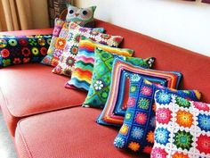 Retro crocheted pillows