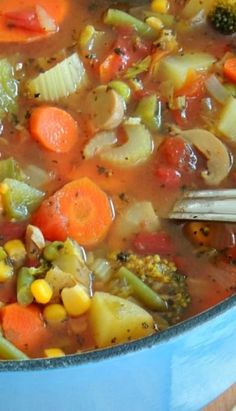 Loaded Vegetable Soup ~ i omitted the corn and potatoes and it was delicious! and only used about 7 cups of water.