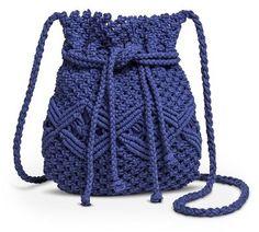 Mossimo Supply Co. Women's Marcrame Cinch Closure Crossbody Handbag - Blue