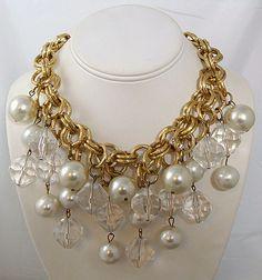 Super Chunky Lucite & Faux Pearl Dangle Bib Necklace Chunky Jewelry, Pearl Jewelry, Gold Jewelry, Beaded Jewelry, Jewlery, Handmade Jewelry, Crystal Statement Necklace, Quartz Necklace, Queens Jewels