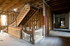 Very few interior architectural details remain, but apparently the developers feel that the original wooden staircases will fit with their luxury condo designs.