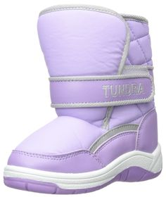 Tundra Boots Kids Baby Girl's Snow Kids (Toddler) Lilac/White 8 Toddler M. Warm Lined^WARM LINED^EASY OFF/ON^WARM LINED^EASY OFF/ON.