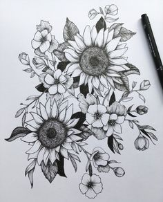 Pen and Ink Flowers A5 Art Print