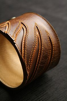 """Leather Cuff, Leather Bracelet: brown leather bracelet with a brown wing design """"Autumn Angel Wing Cuff"""""""