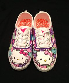 Hello Kitty Custom Painted Canvas Shoes on Etsy, $80.00