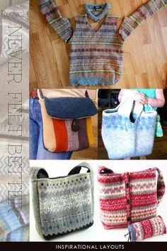 Learn how to felt in a bucket (or washing machine) - projects, tutorials, videos and suggestions by DiaryofaCreativeFanatic Old Sweater Crafts, Pullover Upcycling, Sewing Crafts, Sewing Projects, Felt Projects, Knitting Projects, Recycled Sweaters, Recycled Clothing, Recycled Fashion