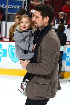 Patrick Sharp and Madelyn skate at the United Center.