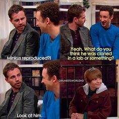 """""""Girl Meets Home for the Holidays"""" - Shawn, Cory and Farkle. This is one of my favorite scenes. I love the young man that plays Farkle. Tv Quotes, Movie Quotes, Funny Quotes, Funny Memes, Hilarious, Boy Meets World Quotes, Girl Meets World, Riley Matthews, Dreamworks"""