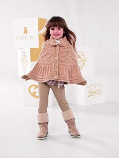 For Autumn/Winter the Gucci baby and children collections are inspired by the English countryside. Kids Winter Fashion, Little Kid Fashion, Cute Kids Fashion, Love Fashion, Girl Fashion, Little Fashionista, Gucci Kids, Gucci Baby, Gucci Gucci