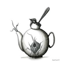 I wish I knew enough about pottery to make this teapot. Renee Treml notecard