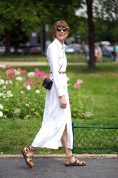 White maxi shirt dress and leopard sandals.
