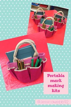 Inspiration from and bags are gardening bags from EYFS Writing Station, Writing Area, Writing Table, Eyfs Classroom, Outdoor Classroom, Classroom Layout, Classroom Decor, Eyfs Outdoor Area, Outdoor Play