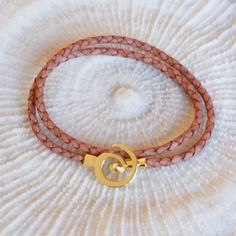 Leather Bracelet Brown Leather bracelet with gold by CharmByIA
