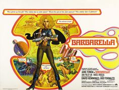 "The cinematic equivalent of cotton candy, the visually stunning Barbarella (1968) stars a wide-eyed Jane Fonda as a futuristic astronaut who loses her clothes in the line of duty a lot. I suppose it could be called a ""camp classic"" in that it's filled with eye-candy and the dialogue (by over a half-dozen different writers) is painfully stupid."