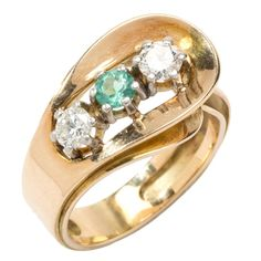 1950s Emerald Diamond Gold Ring | From a unique collection of vintage three-stone rings at https://www.1stdibs.com/jewelry/rings/three-stone-rings/