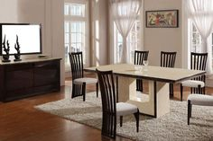 Exclusive Chic Walnut and Marble Dining Set