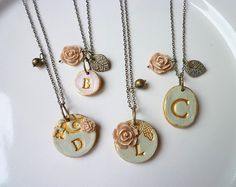 Bridesmaid necklace  Vintage Garden Chic set by Palomaria on Etsy, $116.00