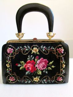 Vintage Embroidered Tapestry Needle Point Floral Pastel Black Leather Purse RARE | eBay