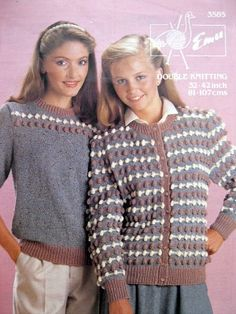 Bobble cardigan and jumper - original double knitting pattern by Emu from the 1980s.