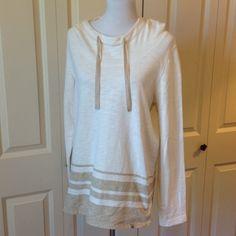 Oatmeal & Tan Pullover Hoodie Longer through the body. Loose fitting. 100% cotton Eddie Bauer Tops Sweatshirts & Hoodies