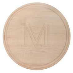"Carved Initial 10 1/2-inch Round Maple Cutting Board (10.5 x 10.5 ""W""), Tan (Wood)"