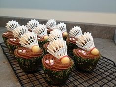 Badminton Party Food Cup Cake Picks Sticks Decorations Toppers Birthday Events