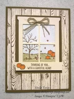 Happy Scenes and Woodgrain stamps and Hearth and Home framelits by Stampin' Up! Wood and window idea Fall Cards, Holiday Cards, Christmas Cards, Scrapbooking, Scrapbook Cards, Window Cards, Hearth And Home, Thanksgiving Cards, Binder