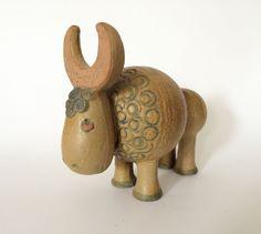 Rare Lisa Larson Gustavsberg Buffalo Figurine, Jura Series Buffel 1970s Sweden