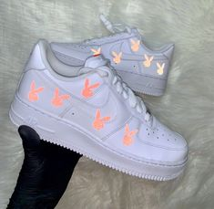 Nike Shoes OFF!> Neon Reflective Bunny Air Force 1 by cloutcvlture Jordan Shoes Girls, Girls Shoes, Shoes Women, Cute Sneakers, Shoes Sneakers, Sneakers Fashion, Fashion Shoes, Fashion Outfits, Nike Shoes Air Force
