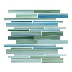 Rocky Point Tile - Rip Curl Linear Glass Mosaic Tile, Sample - This Caribbean hand painted color combination of greens and blues brings a warm inviting feeling to a kitchen backsplash or bathroom. The colors work very well with white cabinetry or larger tiles. This tile can also be used an accent strip in your new shower or tub surround. The pattern repeats every 6 inches for more options! Looks great with white glass subway tiles.