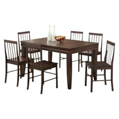 7 Pc Fancy Wood Dining Set - Espresso