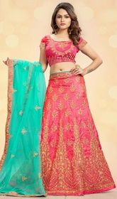Salmon Color Shaded Silk Embroidered Net Lehenga Choli  #cheaplehengacholi #cbazaarlehengacholi Enhance and adorn your elegance with this salmon color shaded silk embroidered net lehenga choli. This lovely attire is displaying some fantastic embroidery done with lace, patch, resham and stones work. Upon request we can make round front/back neck and short 6 inches sleeves regular lehenga blouse also. USD $ 199 (Around £ 137 & Euro 151)