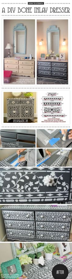 Cutting Edge Stencils shares a DIY stenciled dresser using the Indian Inlay Stencil Kit. http://www.cuttingedgestencils.com/indian-inlay-stencil-furniture.html
