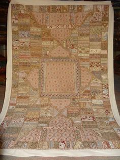 Indian Handmade Decor Wall Hanging Vintage Cotton Embroidered Patchwork Tapestry