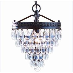 allen   roth Eberline 9.06-in W Oil-Rubbed Bronze Crystal Standard Pendant Light with Crystal Shade