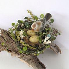 Bird Nest Garden Spring Decor Vintage Ceramic by SandisShellscapes, $30.00
