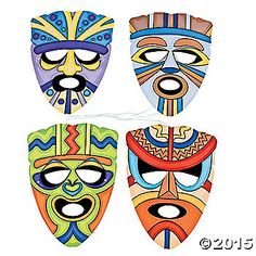 Tribal Masks. Let everyone choose a fun design to wear at your luau or beach party! Each with an elastic band. Cardboard. 14 Simple assembly required. © ...