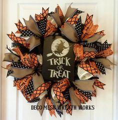 Halloween Wreath, Trick or Treat Wreath, Fall Wreath, Autumn Wreath, Paper Mesh Wreath, Deco Mesh Wreath, Halloween Decor, Halloween by DecoMeshWreathWorks on Etsy