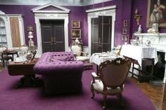 """Purple tufted sofa! I've made a few of this style, and Ive done two in the same color eggplant purple, gorgeous. This is from """"My Week with Marilyn"""" set decorator Judy Farr SDSA , so amazing."""