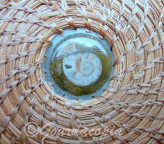 Pine needle basket with ammonite fossil center and by Gourdacopia