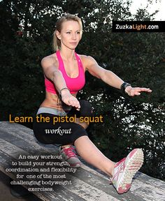 Do you want learn the Pistol Squat? Then watch this video I made for you: Learn the Pistol Squat Workout. Moda Fitness, Fitness Tips, Fitness Motivation, Squat Workout, Workout Humor, Pistol Squat Progression, Squat For Beginners, Crossfit, Best Beginner Workout